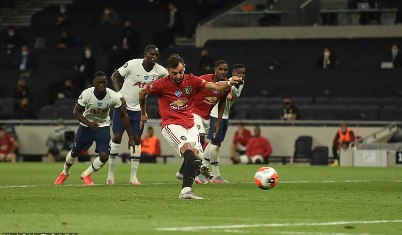 Tottenham 1-1 Man Utd - Bruno Fernandes' late penalty keeps Man U. In champions league spot after Steven Bergwijn opener (photos)