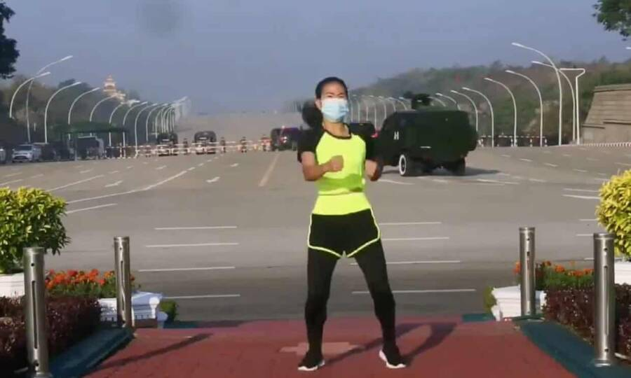 Watch This Aerobics Teacher Unknowingly Record A Military Coup While Filming Her Dance Routine In Myanmar